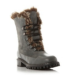 Dune - Grey 'Raleigh' warm lined lace up calf boot
