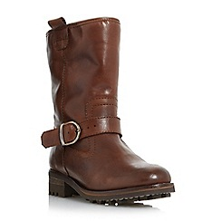 Dune - Brown 'Roller' faux fur lined buckle calf boot