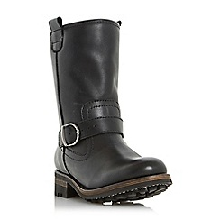Dune - Black 'Roller' faux fur lined buckle calf boot