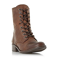 Dune - Tan 'Rey' leather lace up calf boot