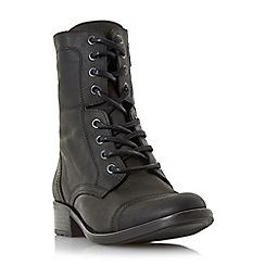 Dune - Black 'Rey' leather lace up calf boot