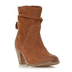 Dune - Tan 'Rosana' rouched nubuck calf boot
