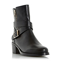 Dune - Black 'Rommie' side zip and buckle detail boot