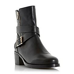 Dune - Black 'Rommie' side zip and buckle detail boot