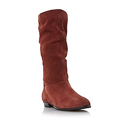 Dune - Dark orange 'Relissa' slouch calf boot