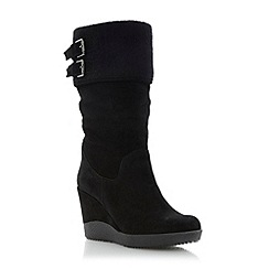 Dune - Black slouchy wedge heel boot