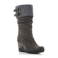 Dune - Grey slouchy wedge heel boot