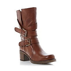 Dune - Tan buckle detail leather calf boot