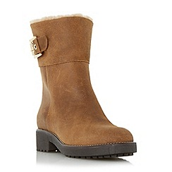 Dune - Tan 'Remi' faux shearling buckle detail calf boot