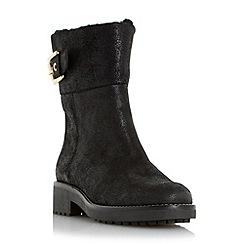 Dune - Black 'Remi' faux shearling buckle detail calf boot
