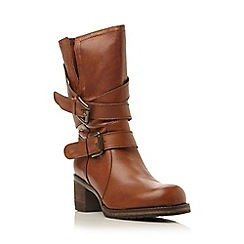 Dune - Tan 'Rocking' buckle detail leather calf boot