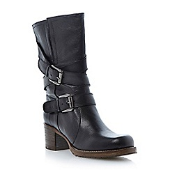 Dune - Black 'Rocking' buckle detail leather calf boot