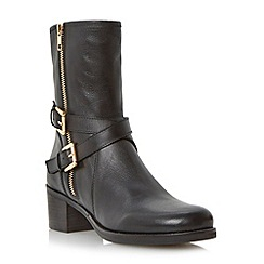 Dune - Black buckle trim mid block heel leather biker boot