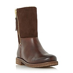 Dune - Tan 'Russell' warm lined mix leather calf boot