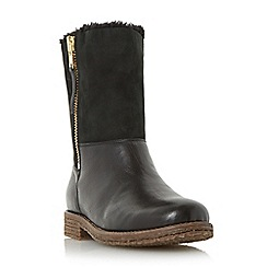 Dune - Black 'Russell' warm lined mix leather calf boot