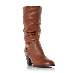Dune - Tan 'Rossy' slouchy leather pull on calf boot