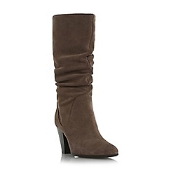 Dune - Taupe 'Rossy' slouchy leather pull on calf boot