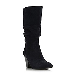 Dune - Navy 'Rossy' slouchy leather pull on calf boot