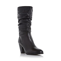 Dune - Black 'Rossy' slouchy leather pull on calf boot