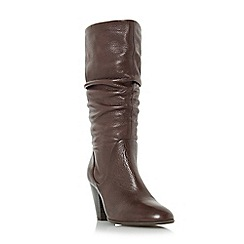 Dune - Dark brown 'Rossy' slouchy leather pull on calf boot