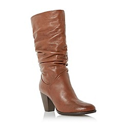 Dune - Tan slouchy leather pull on heeled calf boot