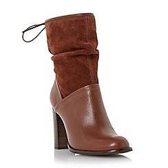 Dune - Brown 'Ryley' rouched mixed material calf boot