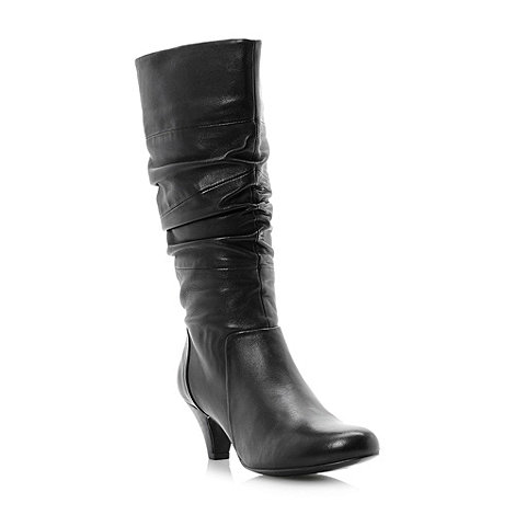 Dune - Black +Reta+ rouched detail leather calf boots