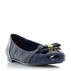 Dune - Navy-leather 'Herminie' quilted leather ballerina shoe