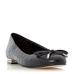 Dune - Black toecap and bow detail ballerina shoe