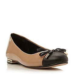 Dune - Taupe-patent 'Hyla' toecap and bow detail ballerina shoe