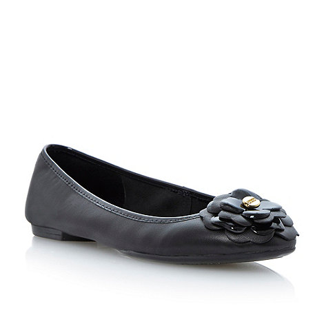 Dune - Black leather flower corsage ballerina