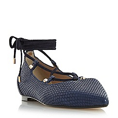 Dune - Navy 'Hasel' stud detail ghille lace up shoe