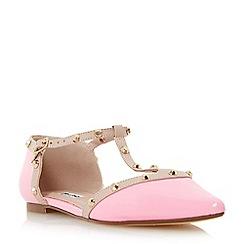 Dune - Pink 'Heti' stud detail pointed flat shoe