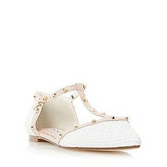 Dune - White 'Heti' stud detail pointed flat shoe
