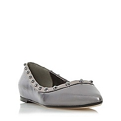 Dune - Silver 'Halogen' studded pointed toe flat shoe