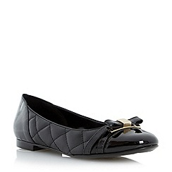 Dune - Black quilted leather ballerina shoe