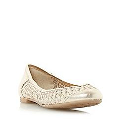 Dune - Gold 'Morran' woven ballerina shoe