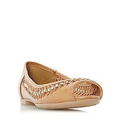 Dune - Tan 'Harlow' woven peep toe ballerina shoe