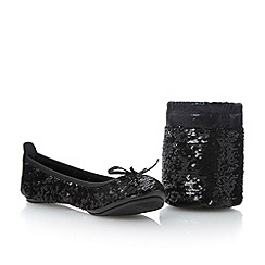 Dune - Black sequin fold up ballerina