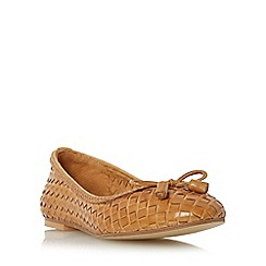 Dune - Tan 'Hove' woven leather ballerina shoe