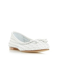 Dune - White 'Hove' woven leather ballerina shoe