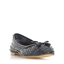 Dune - Navy 'Hove' woven leather ballerina shoe