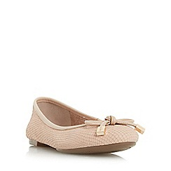 Dune - Light pink 'Hero' bow trim round toe ballerina