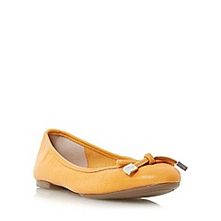 Dune - Orange 'Hero' bow trim round toe ballerina shoe