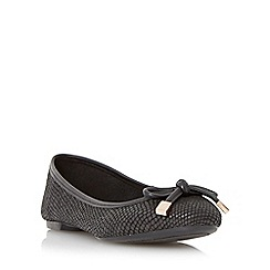 Dune - Black bow trim round toe ballerina