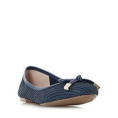 Dune - Navy 'Hero' bow trim round toe ballerina