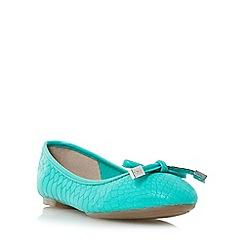 Dune - Green 'Hero' bow trim round toe ballerina shoe