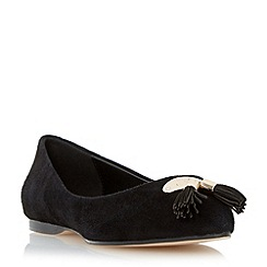 Dune - Black tassel detail pointed toe flat shoe