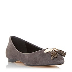 Dune - Grey tassel detail pointed toe flat shoe