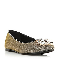 Dune - Metallic jewelled trim square toe flat shoe
